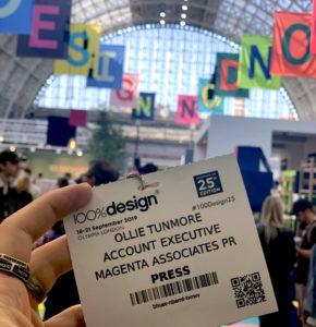 100% Design press pass 2019, Ollie Tunmore, Magenta Associates