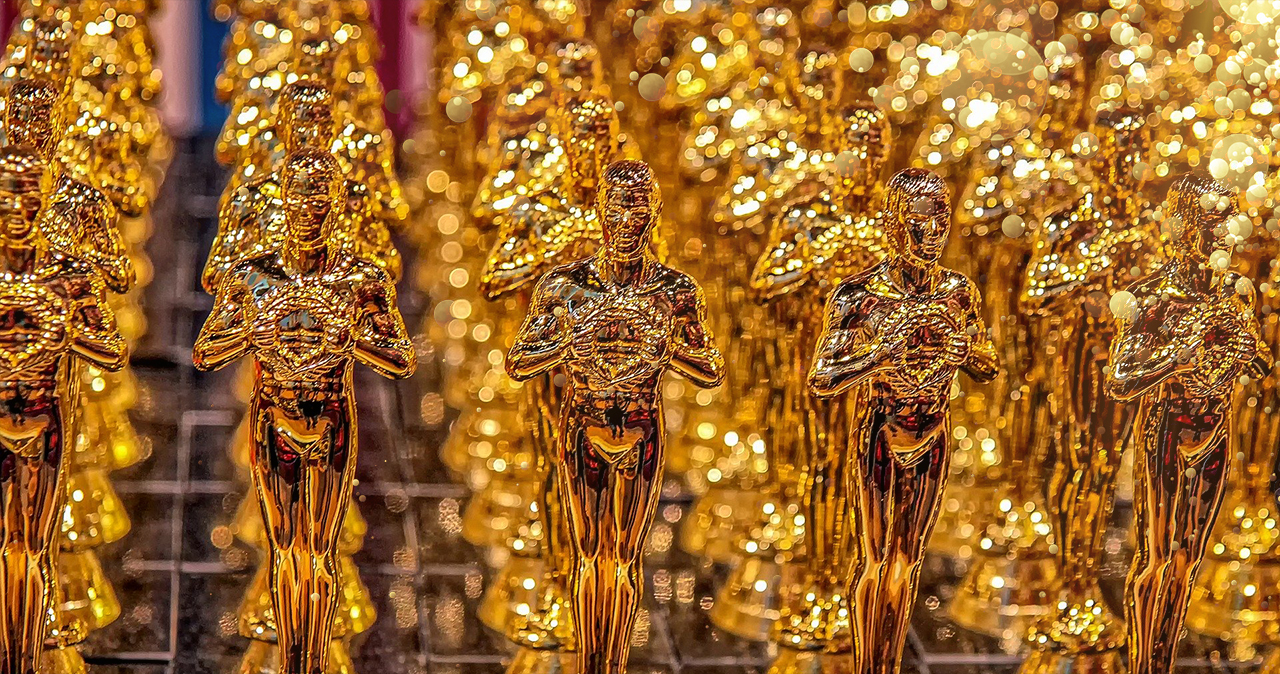 Rows of award trophies
