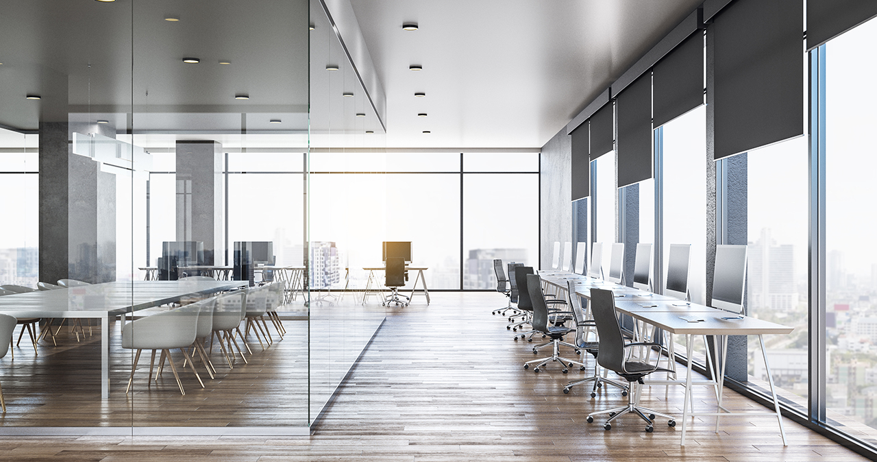 The corporate real estate webinar discussed the role of CRE leaders during a crisis that sees offices like this empty