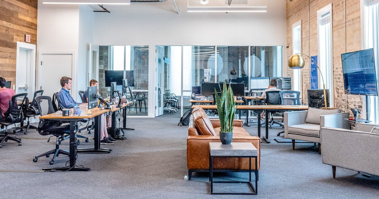 An open plan office layout which may be the new normal workplace design