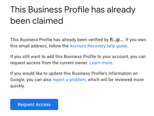 A screenshot of how to claim an existing page on Google My Business