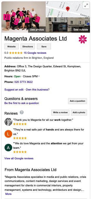 A screenshot of the Magenta Associates Google My Business listing