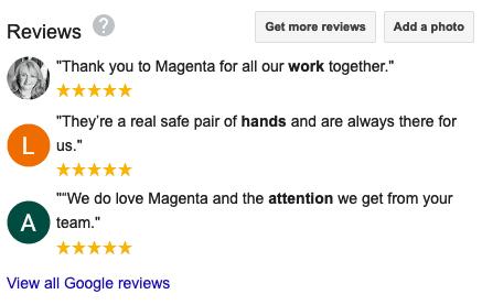 A screenshot of the reviews for Magenta Associates on Google My Business