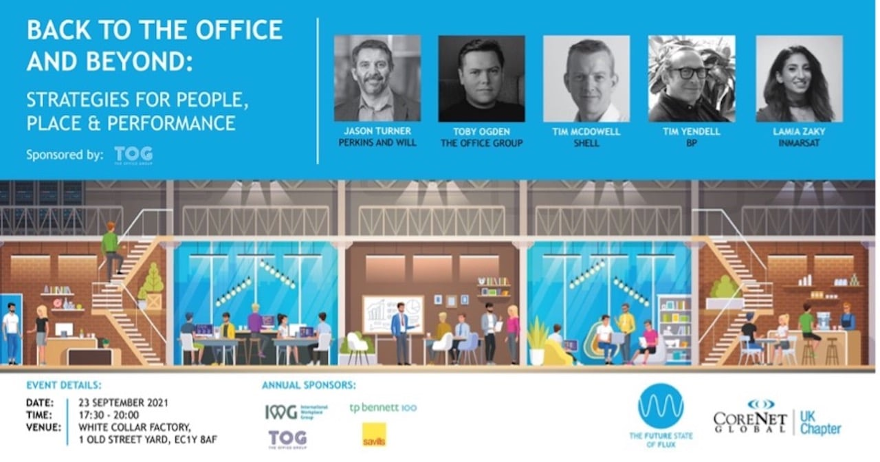 A screenshot of the details for CoreNet's 'Back to the office and beyond' event