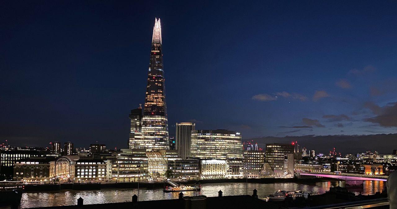The London skyline at night